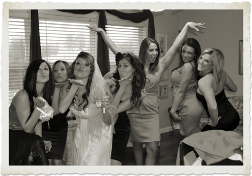 Bridesmaids having fun - what we do at Cavender Castle